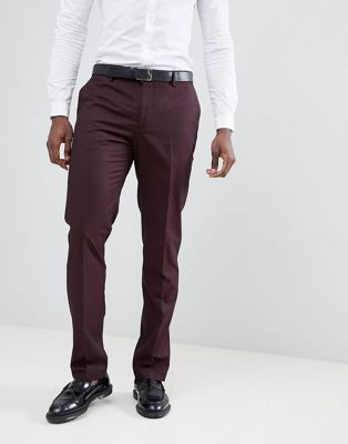 Mango Man Suit Trousers In Burgundy