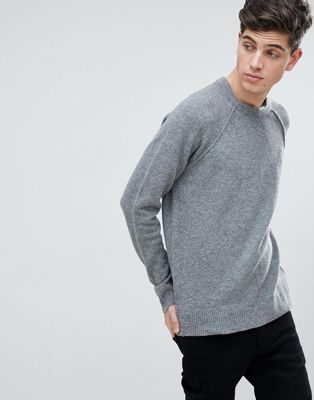 Mango Man Textured Knit Jumper In Grey