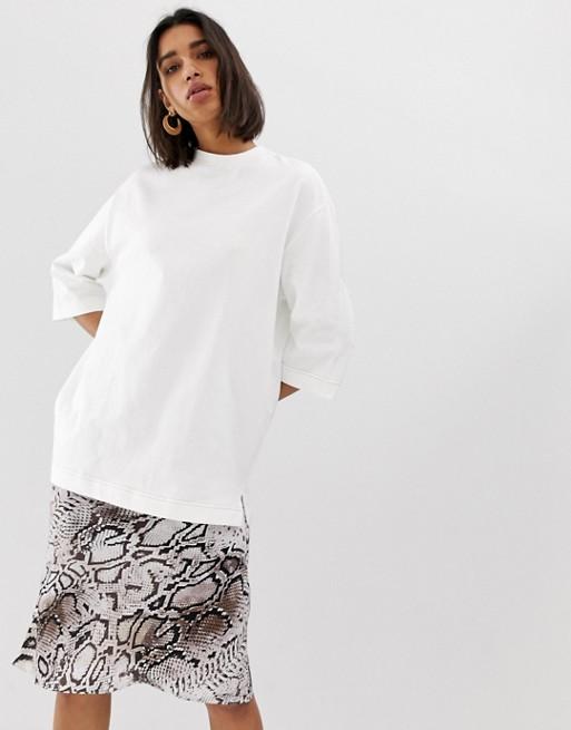 Image 1 of Mango oversized t-shirt in white