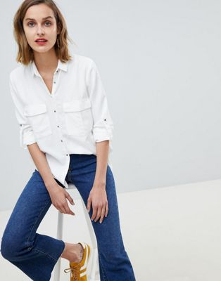 Mango pocket front shirt in white