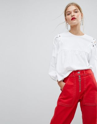 Mango Shirt With Lace Up Shoulder Detail