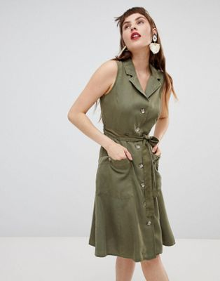 Mango sleeveless shirt dress in khaki