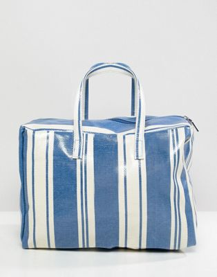 Mango stripe plastic tote in blue multi