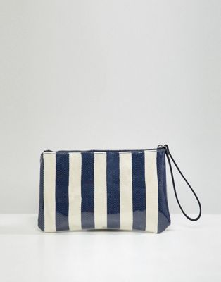 Mango stripe plastic zip pouch in blue multi