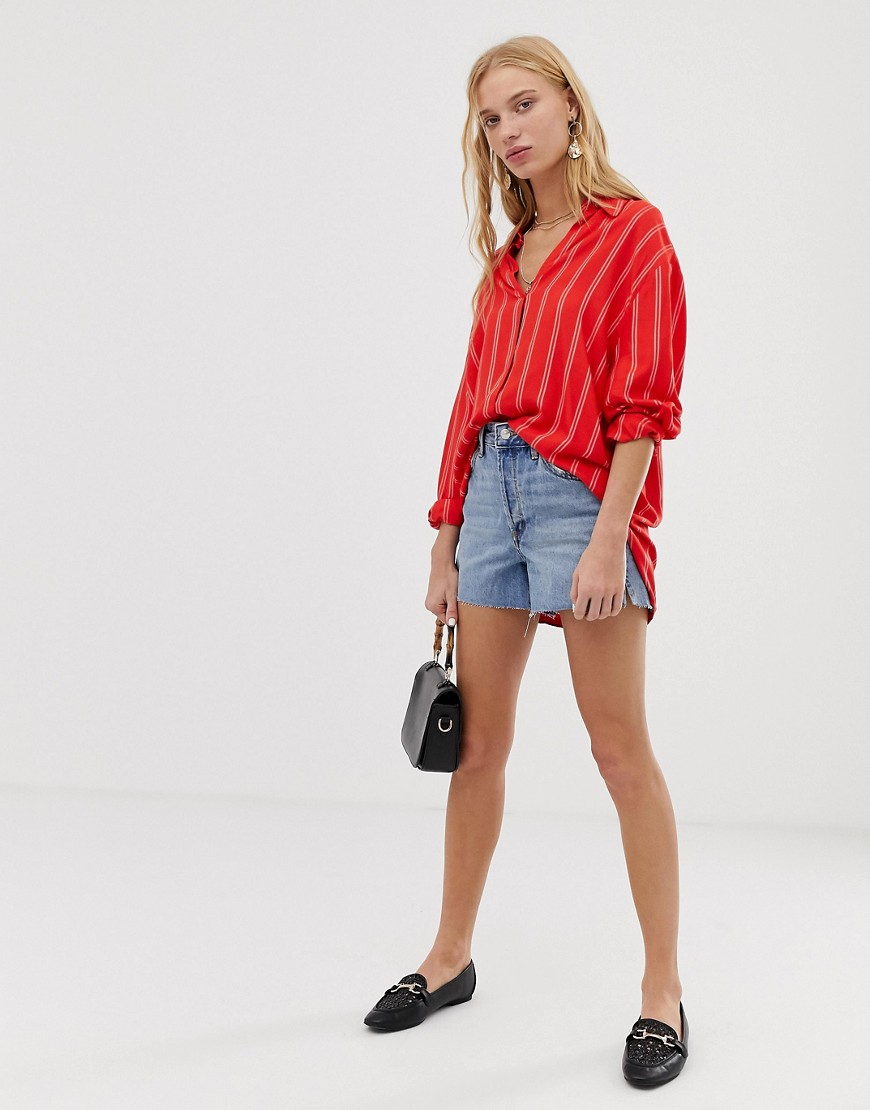 Mango Striped Shirt In Red by Mango