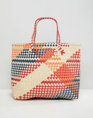 Mango weaved shopper in multi