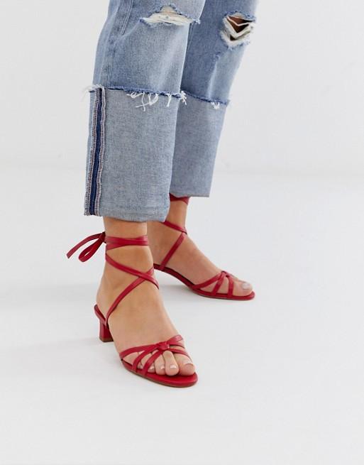 Mango wrap around mid sandals in red