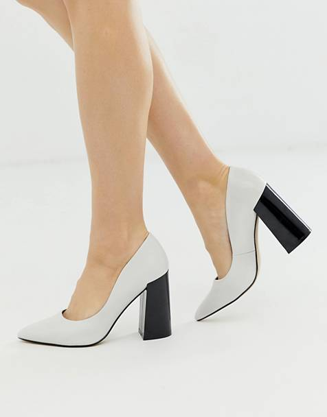 Matt & Nat block heeled shoes in white