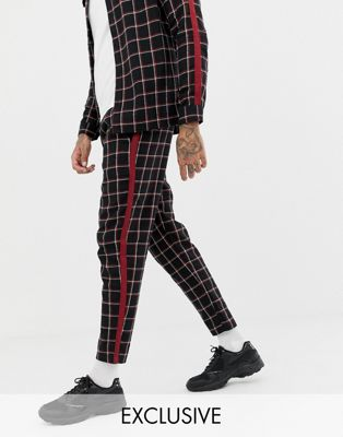 Mauvais relaxed tapered check pants with side stripe