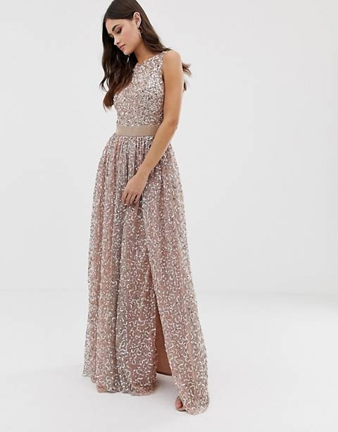 Maya allover contrast tonal delicate sequin dress with satin waist in taupe blush