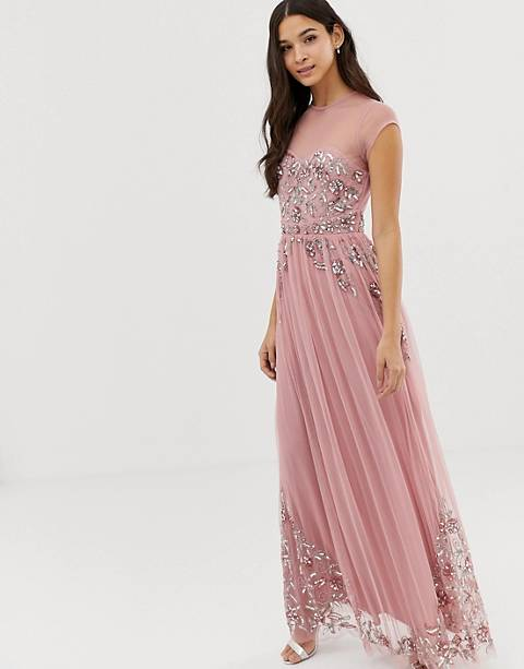 Maya allover premium embellished mesh cap sleeve maxi dress in vintage rose