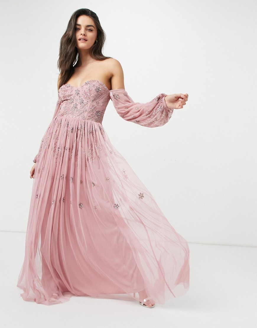 bardot long sleeve tulle maxi dress with tonal delicate floral sequin in rose pink