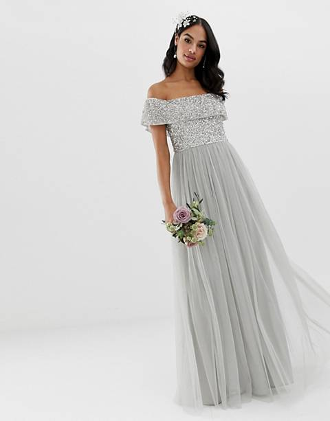 Maya Bridesmaid bardot maxi tulle dress with tonal delicate sequins in soft gray