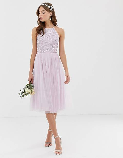 Maya Bridesmaid halter neck midi tulle dress with tonal delicate sequins in soft lilac