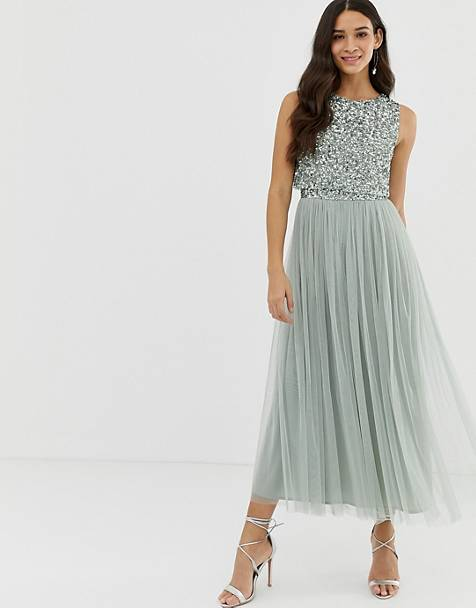 2e4d132e347 Maya Bridesmaid sleeveless midaxi tulle dress with tonal delicate sequin  overlay in green lily