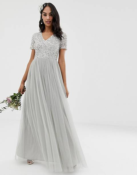 Maya Bridesmaid v neck maxi tulle dress with tonal delicate sequins in soft gray