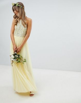 Maya halterneck delicate sequin detail tulle maxi dress in lemon