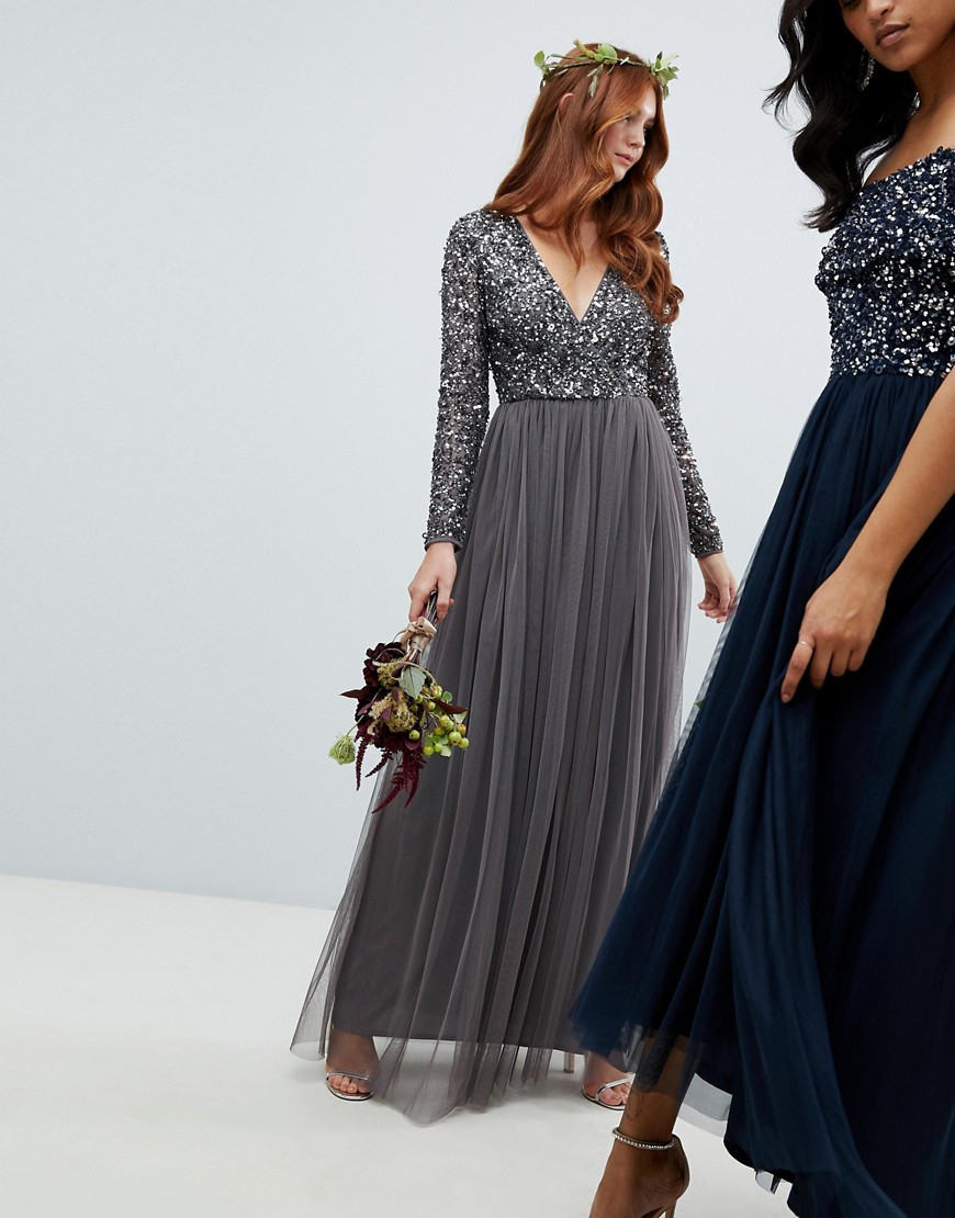 Maya Long Sleeve Wrap Front Maxi Dress With Delicate Sequin And Tulle Skirt In Charcoal by Maya
