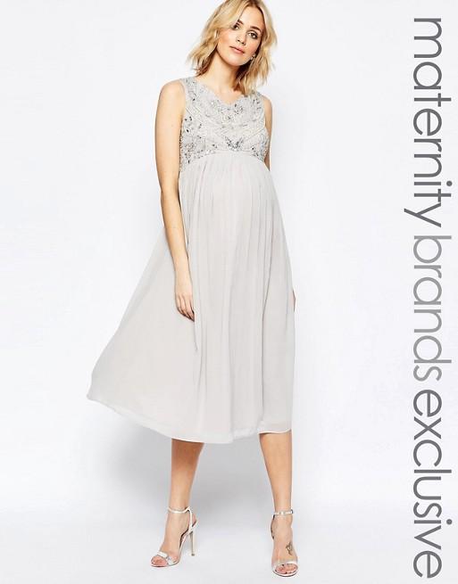 0103011e86dd5 Maya Maternity Bead Embellished Bodice Midi Dress | ASOS