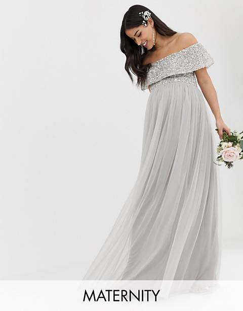 Maya Maternity Bridesmaid bardot maxi tulle dress with tonal delicate sequins in soft gray