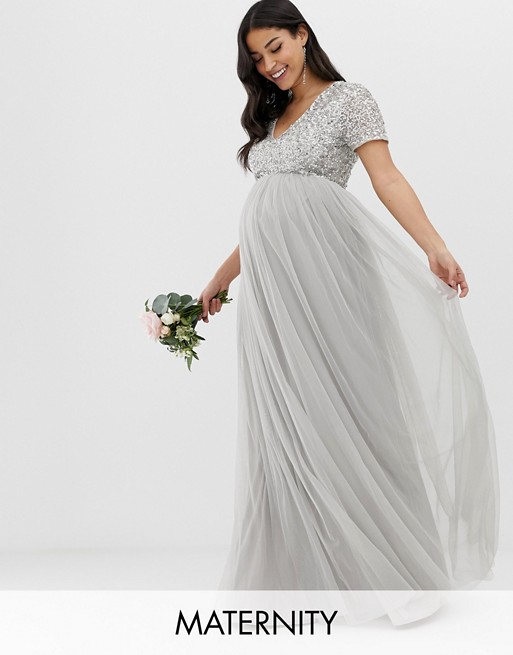Image 1 of Maya Maternity Bridesmaid v neck maxi tulle dress with tonal delicate sequins in soft gray
