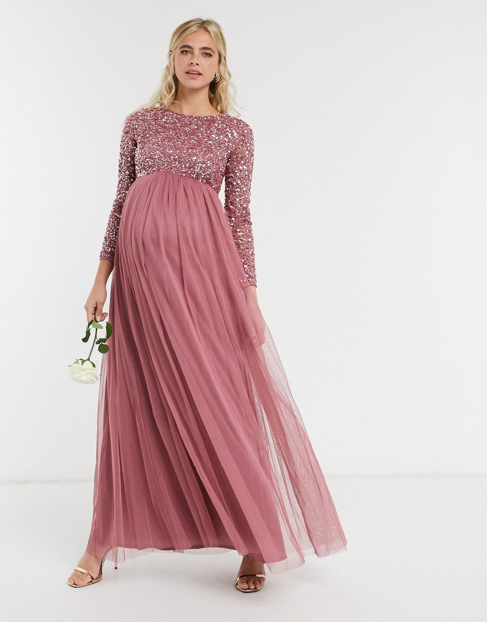 Maya Maternity delicate sequin long sleeve maxi dress with tulle skirt in rose -  Price Checker