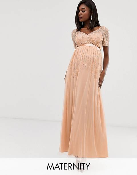 Maya Maternity mesh all over scattered sequin pleated maxi dress in soft peach