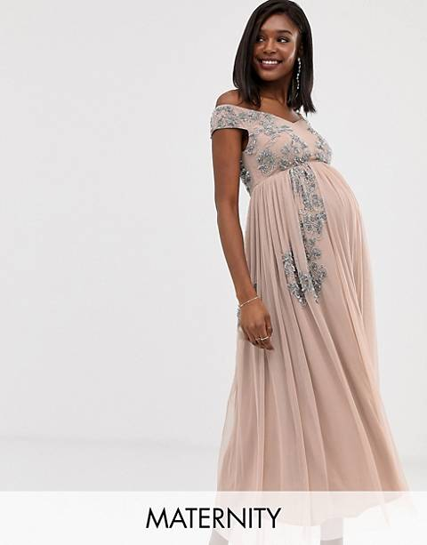 Maya Maternity square neck bardot floral embellished midaxi dress in pink