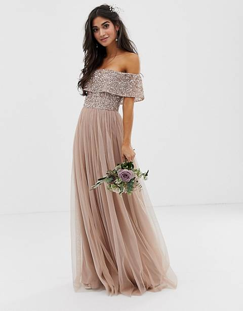 Maya Petite Bridesmaid bardot maxi tulle dress with tonal delicate sequins in taupe blush