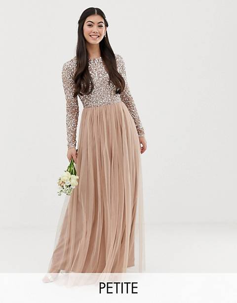 Maya Petite Bridesmaid long sleeve maxi tulle dress with tonal delicate sequins in taupe blush