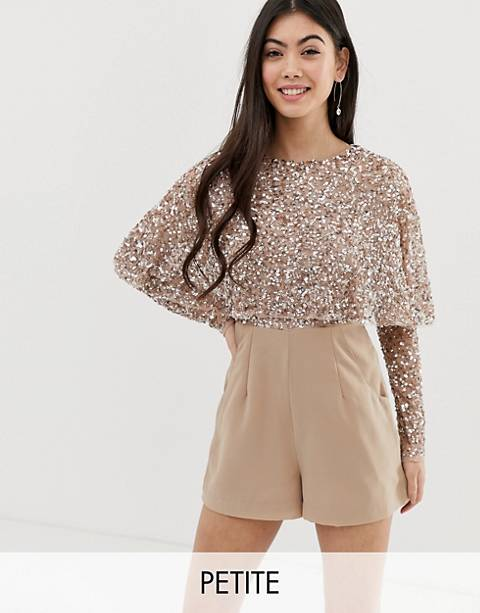 Maya Petite cape detail romper with tonal delicate sequin top in taupe blush