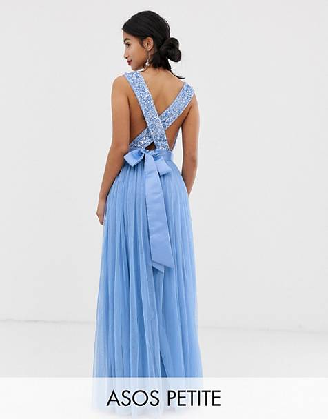 e87a9632b65 Maya Petite delicate sequin bodice maxi dress with cross back bow detail in  bluebell