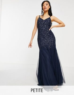 Maya Petite Bridesmaid long sleeve maxi tulle dress with tonal delicate sequins in navy - ASOS Price Checker