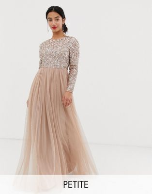 Maya Petite long sleeve sequin top maxi tulle dress