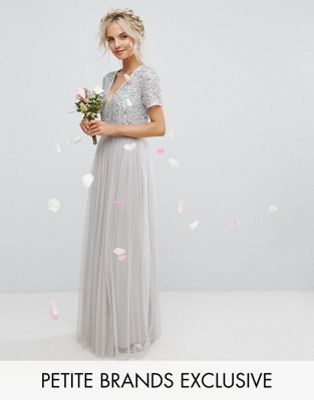 Maya Petite Plunge Neck Embellished Top Maxi Dress With Tulle Skirt