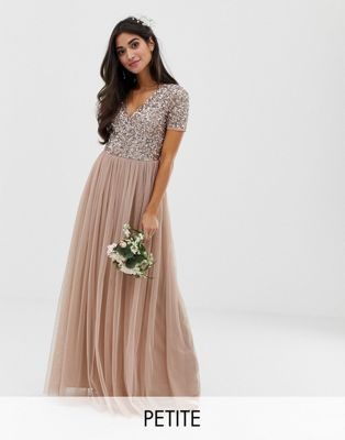 Maya Petite V Neck Maxi Tulle Dress with Tonal Delicate Sequins