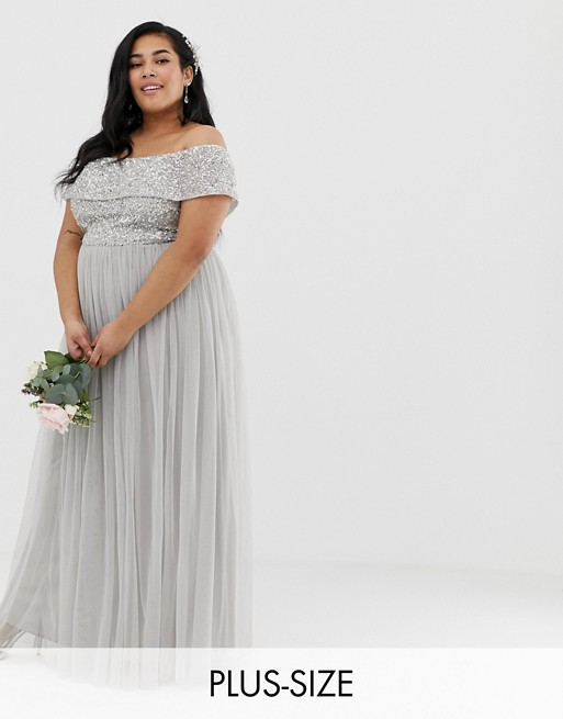 Maya Plus Bridesmaid bardot maxi tulle dress with tonal delicate sequins in silver