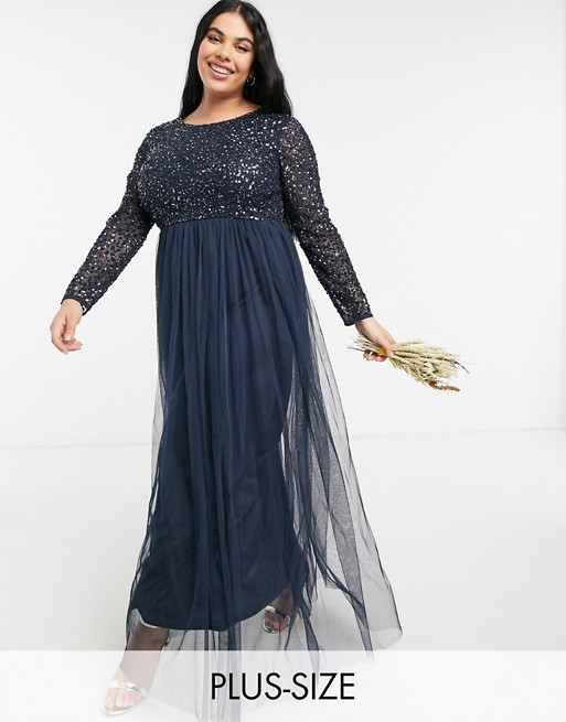 Maya Plus Bridesmaid long sleeve maxi tulle dress with tonal delicate sequins in navy