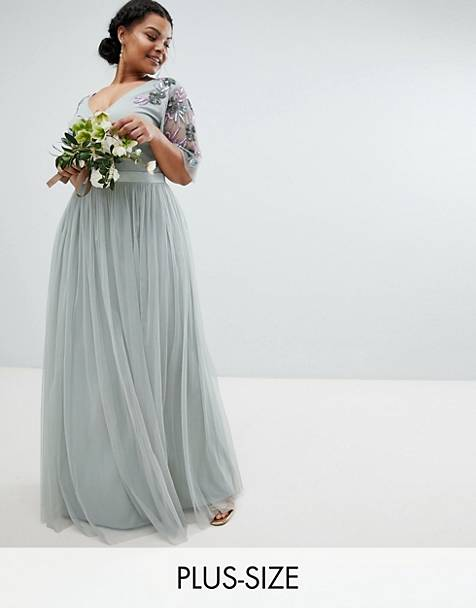 Maya Plus Embellished Tulle Sleeve Maxi Tulle Dress