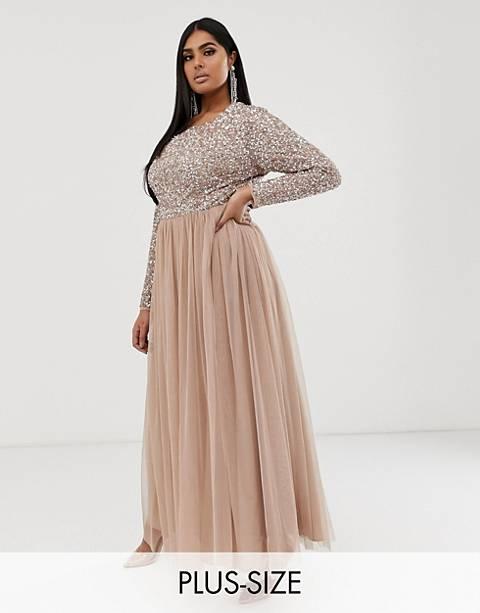 Maya Plus - Robe longue en tulle à manches longues pour demoiselle d'honneur avec sequins délicats ton sur ton - Blush taupe