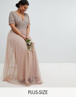 Maya Plus V Neck Maxi Tulle Dress with Tonal Delicate Sequins