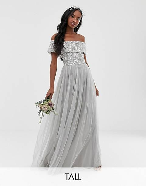 Maya Tall Bridesmaid bardot maxi tulle dress with tonal delicate sequins in soft gray