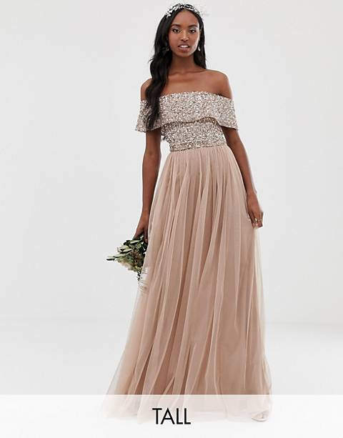 Maya Tall Bridesmaid bardot maxi tulle dress with tonal delicate sequins in taupe blush