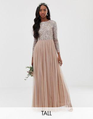 Maya Tall Bridesmaid long sleeve sequin top maxi tulle dress