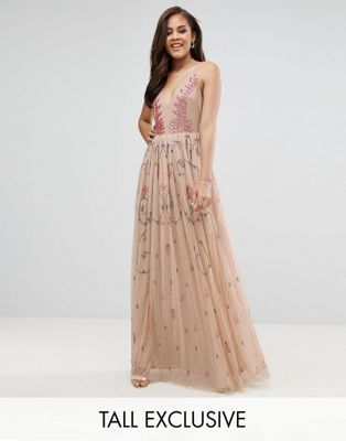 Maya Tall Cami Strap Plunge Embellished Maxi Dress
