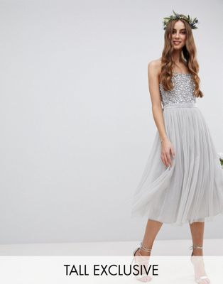 Maya Tall Cami Strap Sequin Top Tulle Detail Midi Bridesmaid Dress