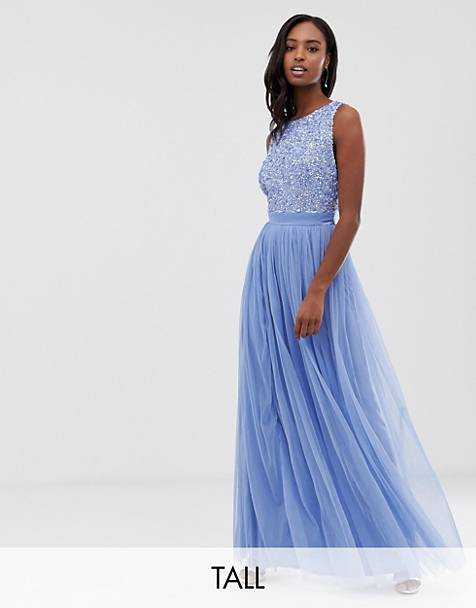 6f9cb96dc85 Maya Tall delicate sequin bodice maxi dress with cross back bow detail in  bluebell