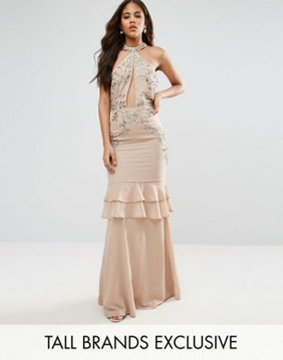 Maya Tall High Neck Embellished Plunge Front Maxi Dress With Frill Skirt Detail