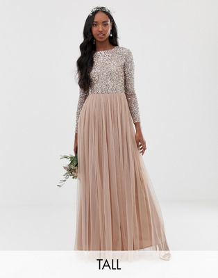 Maya Tall Long Sleeved Maxi Dress with Delicate Sequin and Tulle Skirt