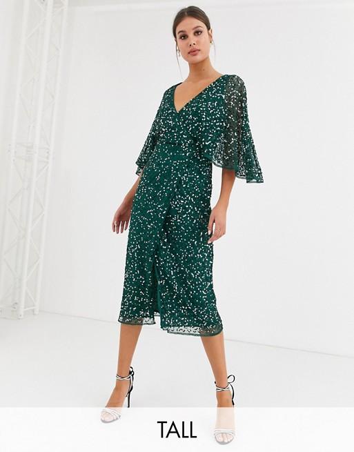 Maya Tall - Robe portefeuille mi-longue de demoiselle d'honneur avec sequins délicats - Vert